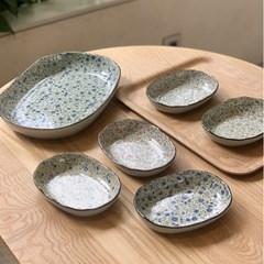 일본 식기 도자기 아리타 스위트 플라워 오발 접시 부페 6p 홈세트