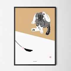 그루밍 고양이 M 유니크 인테리어 디자인 포스터