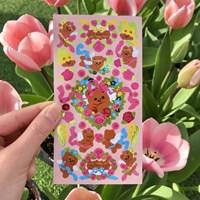 큐피드곰꽃 광택 스티커