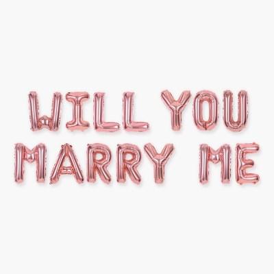 알파벳 은박풍선 세트 WILL YOU MARRY ME 로즈골드