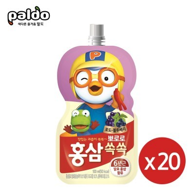 뽀로로 홍삼쏙쏙 포도블루베리100mlX20개_(2303962)