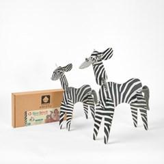 사파리 얼룩말 종이블럭 동물블럭 역할놀이 장난감