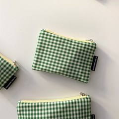 초록 잔체크 파우치 (Green small check pouch)
