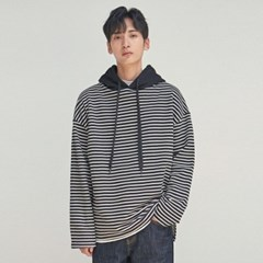STRIPE HOOD LONG SLEEVE_BLACK