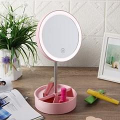 뷰끄 LED 원터치 메이크업 원형 스탠드 조명 거울