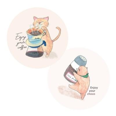 즐거운-커피생활 라지 원형 스티커
