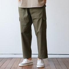 린넨 남자 카고 밴딩 팬츠 와이드 슬랙스 9부 4color