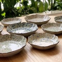 일본 식기 도자기 아리타 스위트 잔꽃 육각 접시 소5p 중4p 홈세트