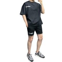 여름 남성 츄리링세트 오버핏 나그랑 반팔티 밴딩 짧은 반바지