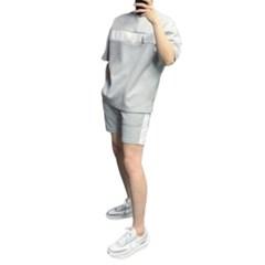여름 남성 츄리링세트 오버핏 배색 면 반팔티 밴딩 반바지