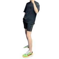 여름 남성 츄리링세트 오버핏 형광 면 반팔티 밴딩 반바지