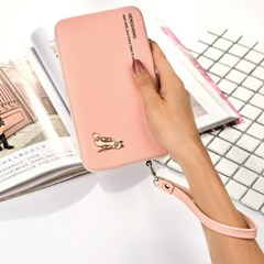 하이힐 핑크 여성 하드 장지갑