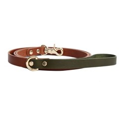 CLASSIC LEATHER LEASH OLIVE KHAKI