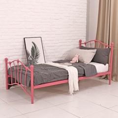 소그노 레이디 철제 싱글 침대 (핑크 단일 색상)