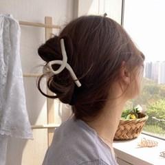 고급 웨이브 유광 올림머리 집게핀 헤어핀 4color