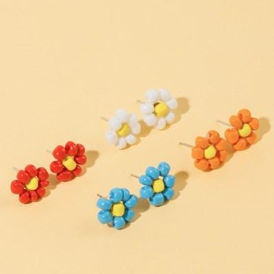 구슬 꽃 귀걸이