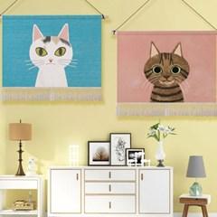 데코 고양이 일러스트 패브릭 포스터_(149887)