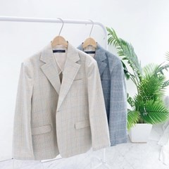 남친룩 카라 오버핏 체크 면 블레이져 자켓