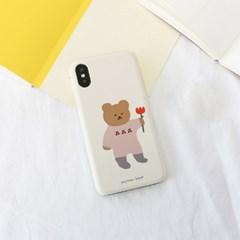 꽃을든곰(크림) 220 아이폰/LG 폰케이스&스마트톡