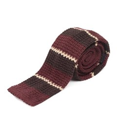 LAN STRIPE KNIT TIE (burgundy)
