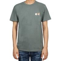 20SS 메종키츠네 더블 폭스헤드 패치 티셔츠 (남성/블루그린) EU0013