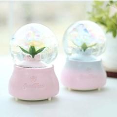 홀로그램 꽃 워터볼 오르골 (핑크 블루)