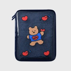 Bear heart-navy(PVC 파우치)_(1559972)