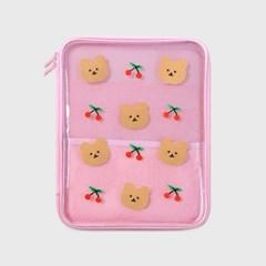 Dot cherry bear-pink(PVC 파우치)_(1559970)