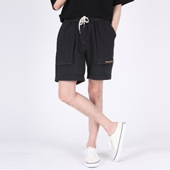 (UNISEX)Denim Vintage Shorts(BLACK)