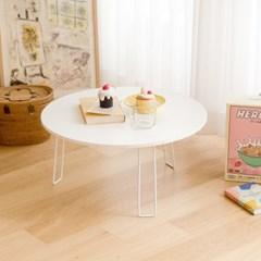 데일리 원형 접이식 테이블 다용도 책상 공부상