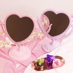 핑크 하트 스탠드 거울 2color! [스탠딩 공주 탁상용 화장 거울]