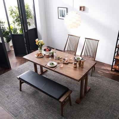 [미즌하임] 보노 1350 원목식탁세트[벤치형]_식탁+의자2+벤치1