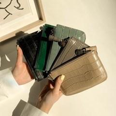 가죽 반달 카드 지갑 파우치 5color