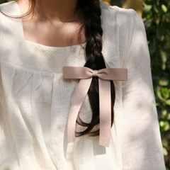 romantic ribbon hair pin (MOCHA BEIGE)