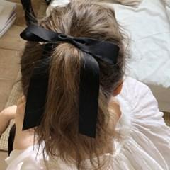 romantic ribbon hair pin (BLACK)