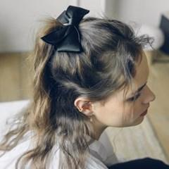 satin ribbon hair pin (BLACK)