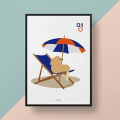 멍 M 유니크 인테리어 디자인 포스터 강아지 동물