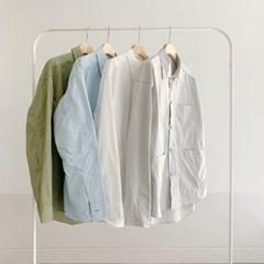 남친룩 카라 루즈핏 언발 무지 면 셔츠 자켓