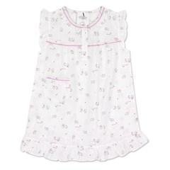 알콩단잠 유아여름잠옷 아울래빗 순면 반팔 원피스 실내복 (핑크)