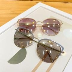 아크릴 그레이 핑크 가벼운 반뿔테 패션 선글라스