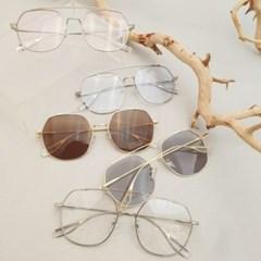 핑크 브라운 빅사이즈 육각 선글라스 안경테 UV400