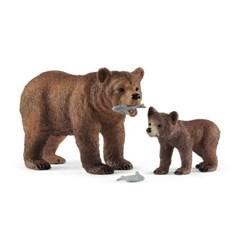 [슐라이히] 어미 그리즐리 곰과 새끼 그리즐리 곰_(301803696)