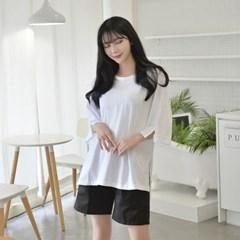 무지 가오리 티셔츠 (2 colors) 유니폼 반티 티셔츠_(1584464)