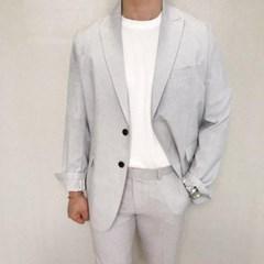 하객룩 여름 남성 여름 세미 캐주얼 체크 얇은 블레이져 정장 자켓