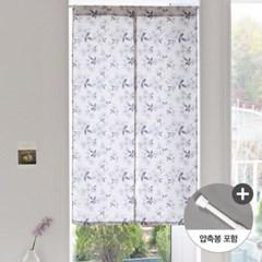 앨리스 블루플라워 화이트암막 가리개커튼+봉포함