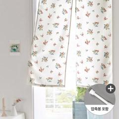 앨리스 레트로플라워 화이트암막 가리개커튼+봉포함