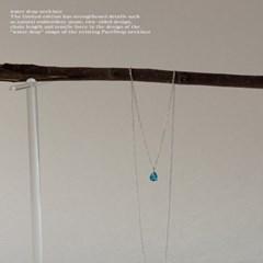 뷔즈 실버925 블루 물방울 이태리체인 목걸이VN049