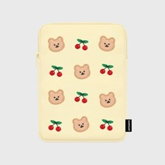 Dot cherry bear-ivory-ipad pouch(아이패드 파우치)_(1578603)