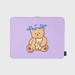 Blue bird bear-purple-13inch notebook pouch