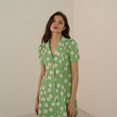 [룩캐스트] GREEN MARTHA FLOWER PRINTED DRESS